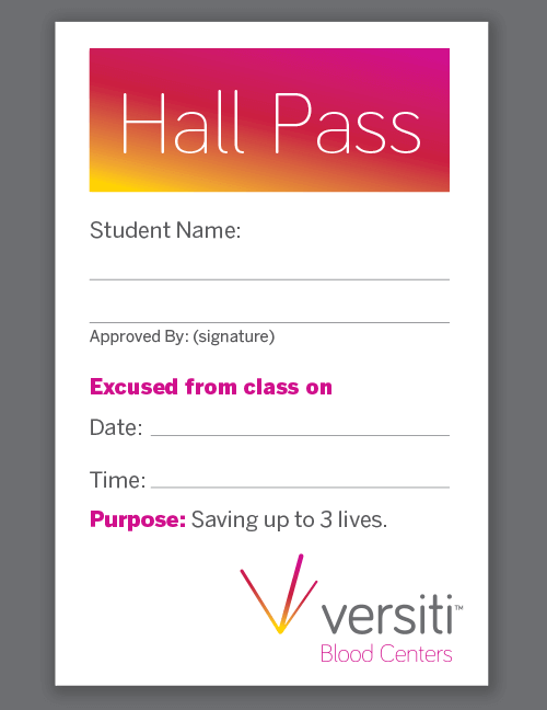 Download this printable hall pass to encourage students to donate.